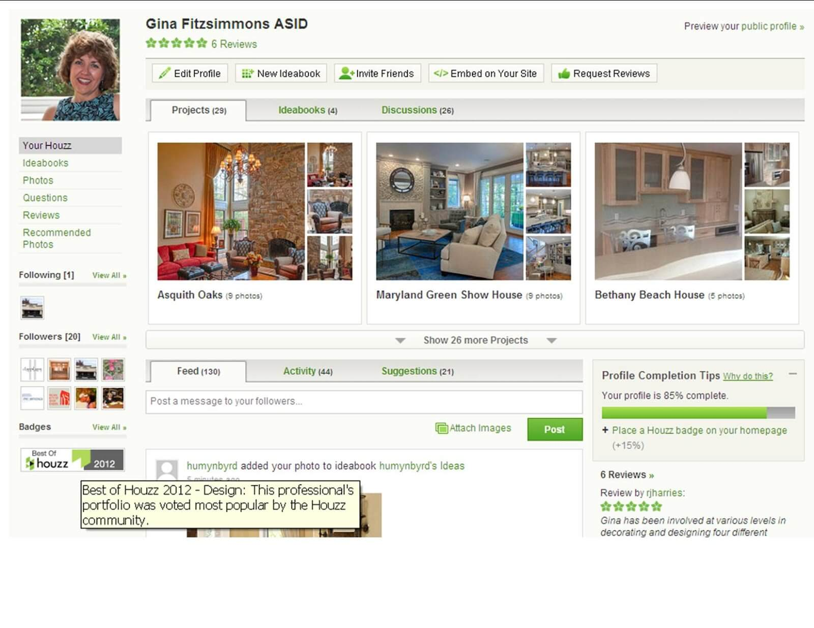Build portfolio on Houzz