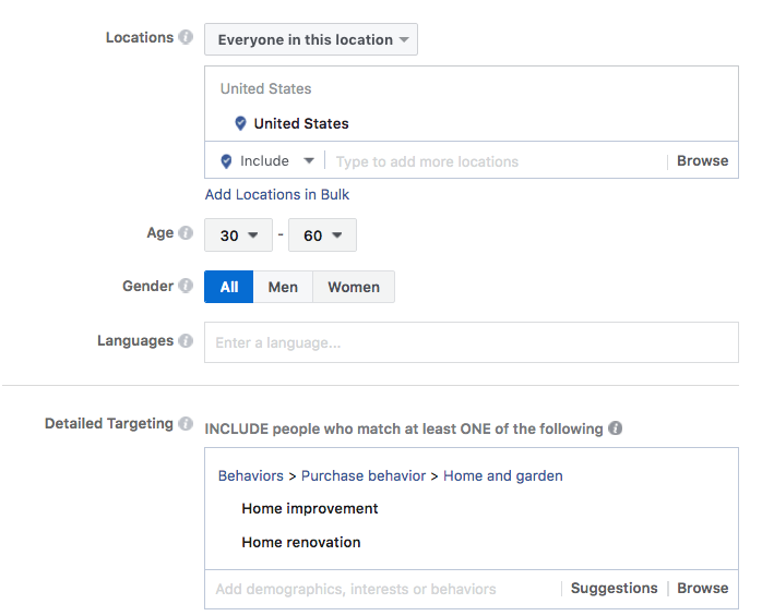 Facebook ad platfrom to get home improvement leads